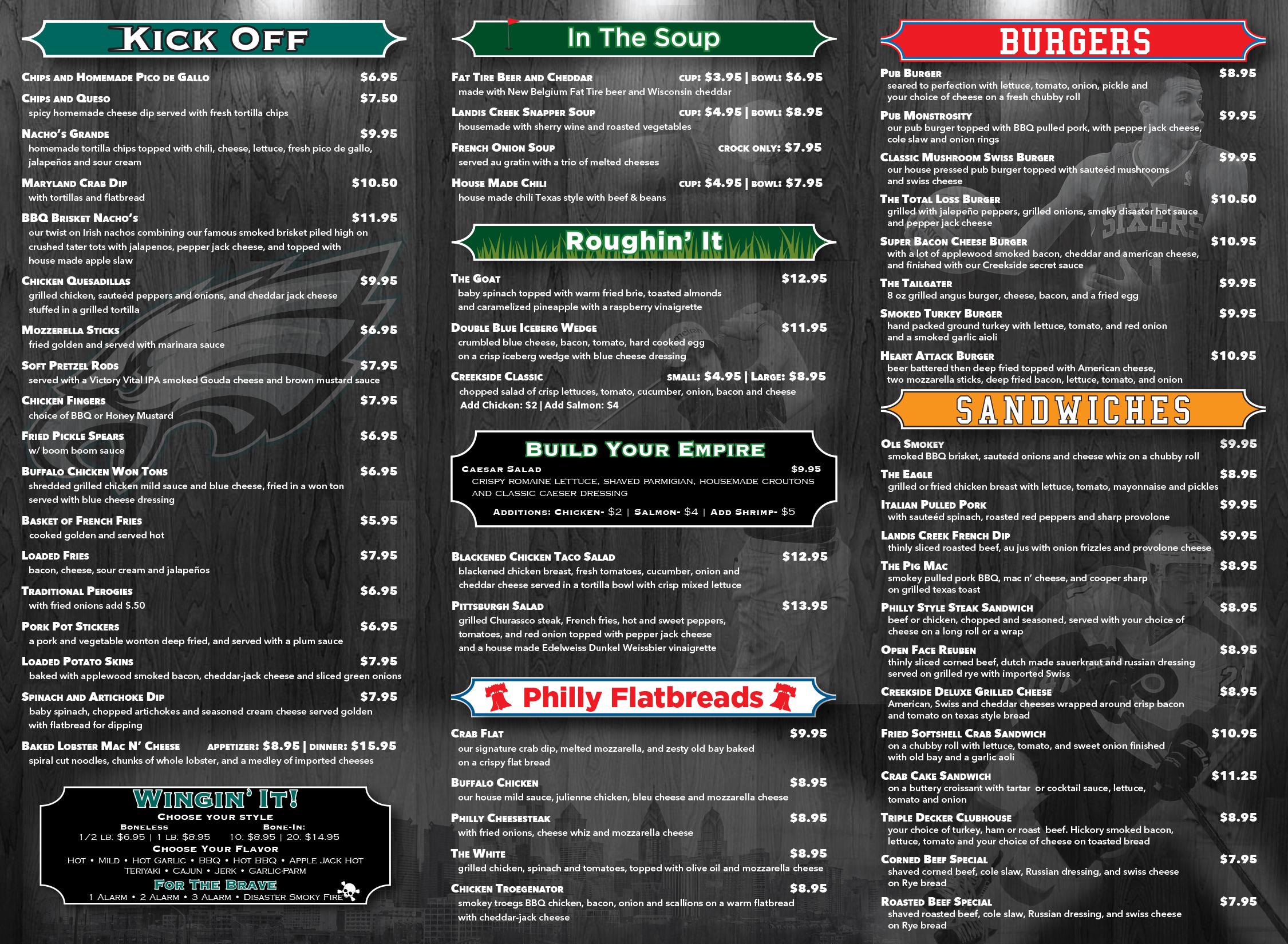 Menu for Bar 88 food menu